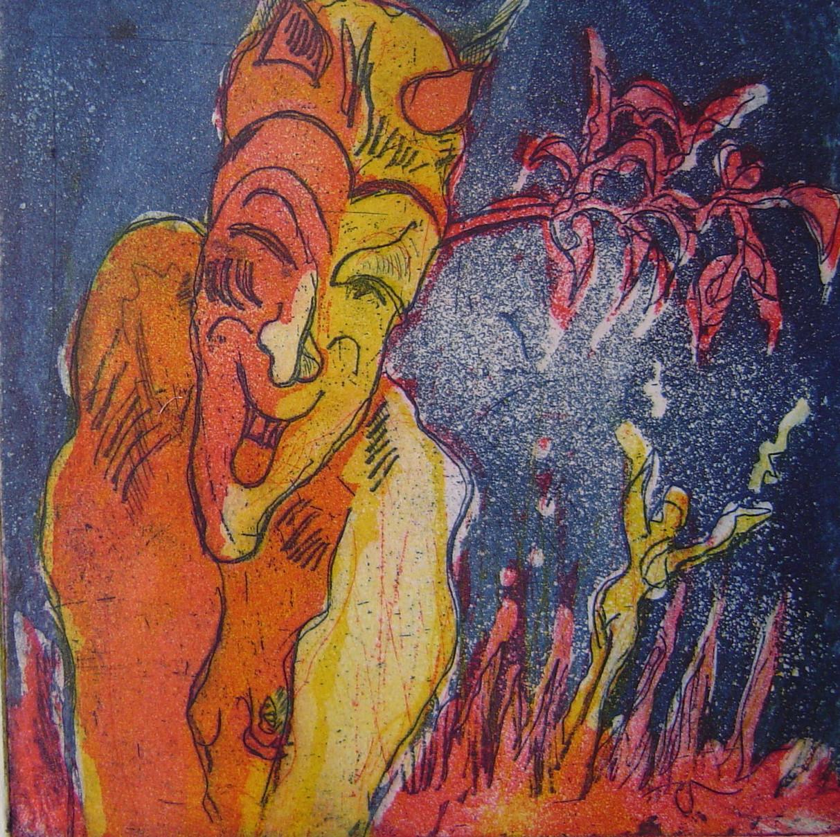 Aber mir gefiel eine blaue Hölle besser - auch vertauschte ich im Gegensatz zur davor gezeigten Version der Radierung die rote und die gelbe Platte - Radierung Teufel von Susanne Haun - 2004 - 15 x 15 cm - 3 Platten Aquatinta