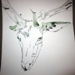 Hirsch auf Zeichnung von Susanne Haun 1000 x 40 cm