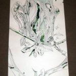 Hirsch und Olivenblätter und Olivenbaum und Hund auf Zeichnung von Susanne Haun 1000 x 40 cm