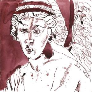 Engelsgesicht - Zeichnung von Susanne Haun - Tusche auf Bütten - 20 x 20 cm