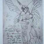 Engel Version 6 - Radierung von Susanne Haun - 20 x 15 cm - Strickätzung