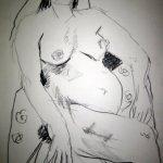Akt mit Blümchen - Kohlezeichnung von Susanne Haun - A2