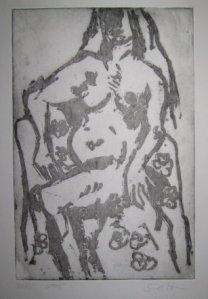 Akt mit Blümchen radiert in der Zuckerausprengtechnik - 25 x 20 cm - Radierung von Susanne Haun