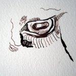 """Das Auge der Ziege - Ausschnitt Zeichnung """"Athena"""" von Susanne Haun"""