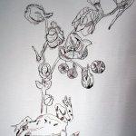 Ausschnitt Ithas Insel Frosch und Rittersporn - Zeichnung von Susanne Haunb