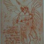 Engel Version 17 – Radierung von Susanne Haun – 20 x 15 cm – Strickätzung