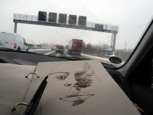 Es ist herrliches Licht im Auto - Skizze Zeichnung von Susanne Haun