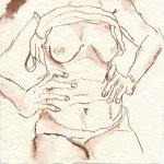 Torso 2 - Zeichnung von Susanne Haun - 15 x 15 cm - Tusche auf Bütten