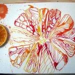 Die stark vergrößerte Zitronenscheibe wirkt abstrakt - Entstehung Zeichnung von Susanne Haun