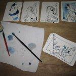 Vier Engel und eine Fresie - Zeichnungen von Susanne Haun