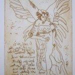 Engel Version 4 - Radierung von Susanne Haun - 20 x 15 cm - Strickätzung