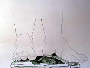 Die Füße ballancieren auf dem SChädel - Zeichnung von Susanne Haun