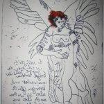 Engel Version 9 – Radierung von Susanne Haun – 20 x 15 cm – Strickätzung