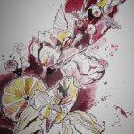 Weihnachtsblumenstrauß - Zeichnung von Susanne Haun - 32 x 24 cm - Tusche auf Ölmalpapier