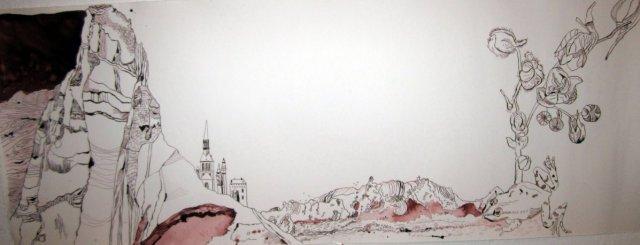 Ithas Trauminsel - Entstehung Zeichnung von Susanne Haun - 40 x 100 cm - Tusche auf Bütten