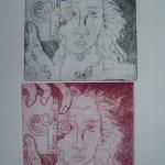 Die Fotografin - Radierung von Susanne Haun - 2 Abdrücke auf einem Blatt, Aquatinta, 2004