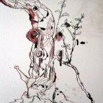 Ich laviere mit grüner und roter Tusche den Boden - Susanne Haun