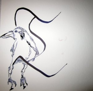 Ich finde, ein Rabe kann auf dem T gut sitzen - Entstehung Zeichnung Susanne Haun