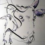 Es ist nicht einfach unter dem T zu zeichnen - Entstehung Zeichnung Susanne Haun