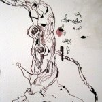 Ich nehme Lotusgrüne Tusche für die Blätter dazu - Zeichnung von Susanne Haun