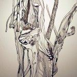 Ein Baum - Zeichnung von Susanne Haun - 25 x 25 cm - Tusche auf Bütten