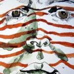 Ausschnitt Selbst - Streifend - Zeichnung von Susanne Haun - 25 x 25 cm - Tusche auf Bütten