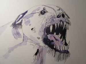 Hund Version 2 - Zeichnung von Susanne Haun - 40 x 30 cm - Tusche auf Bütten
