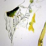 Kräftige Linien treffen auf Leichtigkeit in gold - gelb - grün - Susanne Haun