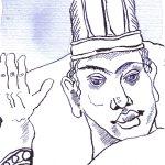 Der Inka König - Zeichnung von Susanne Haun - Tusche auf Hahnemühle Postkarte