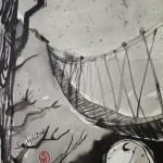 Gleich der schmalen und schwankenden Brücke von der die Moslim sagen, dass sie der einzige Pfad zwischen Zeit und Ewigkeit sei - Illustration von Susanne Haun nach E.A.Poes - 80 x 60 cm - Tusche auf Bütten