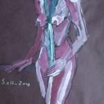 2007: Stehender Akt mit Tuch - Zeichnunge von Susanne Haun - 80 x 60 cm - Acryl und Ölkreide