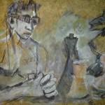 2005: Schachspieler Schwarz - Zeichnung von Susanne Haun - 60 x 80 cm , Ölkreide und Acryl auf handgeschöpften Büttenpapier