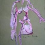 2007: Akt mit angewinkelten Knie - Zeichnunge von Susanne Haun - 80 x 60 cm - Acryl und Ölkreide