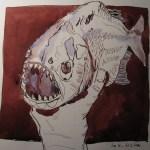 Piranha - Zeichnung von Susanne Haun - 25 x 25 cm - Tusche auf Bütten