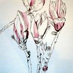 Magnolien - Zeichnung von Susanne Haun - 40 x 30 cm - Tusche auf Bütten