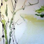 Erst als der Baum steht setze ich den Fluß und die Bäume am Horizont - Susanne Haun