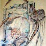 Stilleben mit Seeigel - Zeichnung von Susanne Haun - 70 x 50 cm - Blei- und Buntstift auf Papier