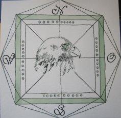 Windrose grün, Element Erde - Zeichnung von Susanne Haun - 25 x 25 cm - Tusche auf Bütten