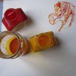 Entstehung Ranunkel - rot + gelb = orange - Susanne Haun