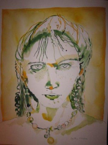 Portrait in Esmeraldgrün - Zeichnung von Susanne Haun - 70 x 50 cm - Tusche auf Bütten