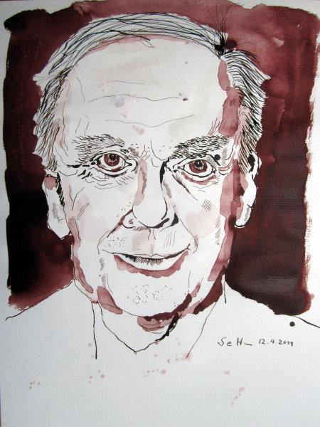 Harald Juhnke - Zeichnung von Susanne Haun - 40 x 30 cm - Tusche auf Papier