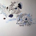 Dann zwei eine Amsel - Zeichnung von Susanne Haun - 30 x 40 cm - Tusche auf Hahnemühle Bütten Toscana
