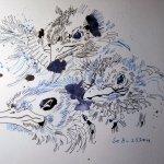 Fertig drei Amseln - Zeichnung von Susanne Haun - 30 x 40 cm - Tusche auf Hahnemühle Bütten Toscana