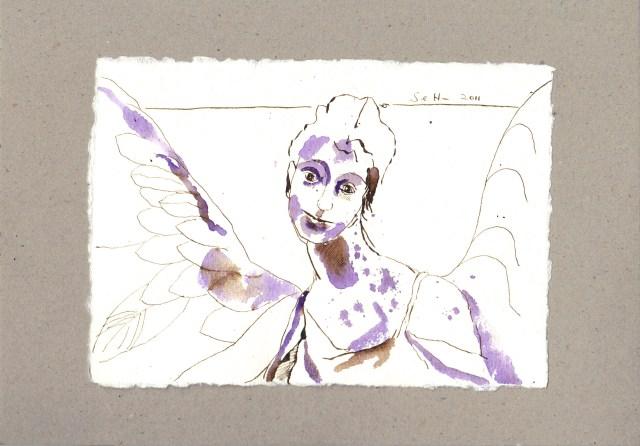 Als aber die Engel, die Himmelssöhne, sie sahen ... - Zeichnung von Susanne Haun - 15 x 20 cm - Tusche auf Bütten