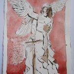 Asasel lehrte den Menschen Waffen - Zeichnung von Susanne Haun - 15 x 20 cm - Tusche auf Bütten