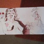 Eva entsteht neben Glockenblumen und Klematis im Paradies - Zeichnung von Susanne Haun - Ausschnitt aus 1000 x 40 cm - Tusche auf Bütten -