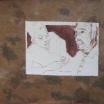 """""""Sie haben mich geschlagen, Manolin"""" ... """"Du hast mit gefehlt"""", sagte er ..."""" auf braunem Papier - Zeichnung von Susanne Haun"""