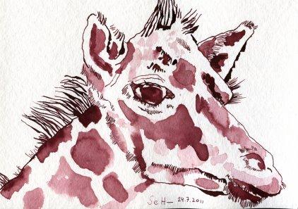 Giraffenbaby Vers 2 - Zeichnung von Susanne Haun - 17 x 22 cm - Tusche auf Hahnemühle Aquarellkarton Torchon