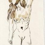 Am Strand im Wind - Zeichnung von Susanne Haun - 20 x 10 cm - Tusche auf Bütten