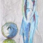 Süden - Zeichnung von Susanne Haun - Ölkreide und Acryl auf handgeschöpften Bütten - 2005 - 60 x 20 cm